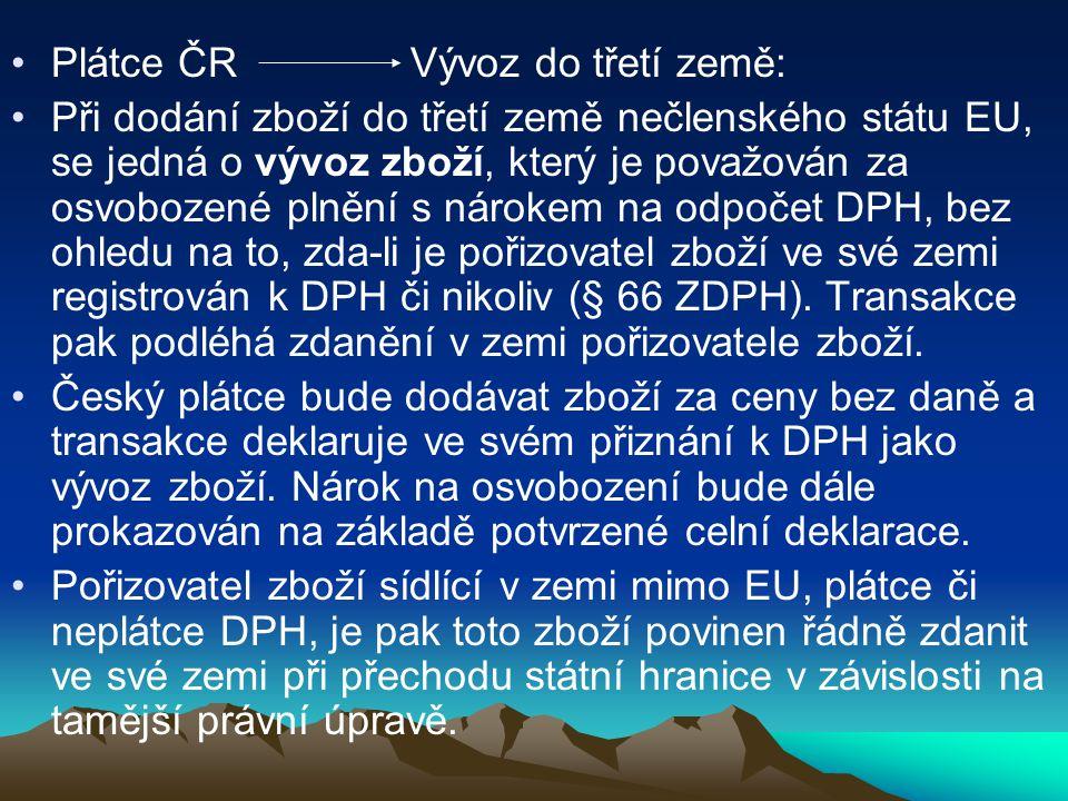 Plátce ČR Vývoz do třetí země:
