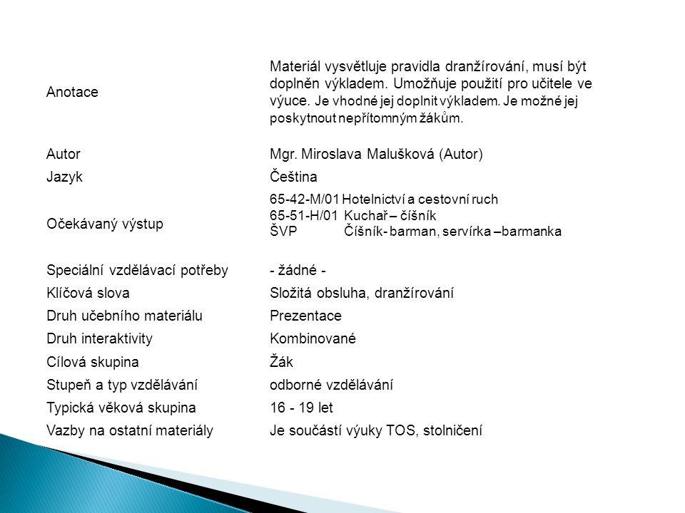 Mgr. Miroslava Malušková (Autor) Jazyk Čeština Očekávaný výstup