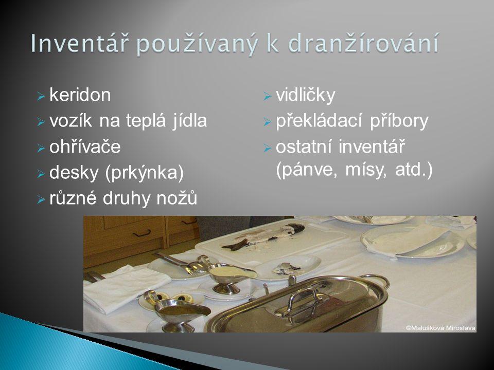 Inventář používaný k dranžírování