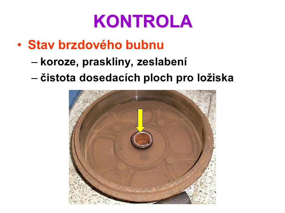 KONTROLA Stav brzdového bubnu koroze, praskliny, zeslabení