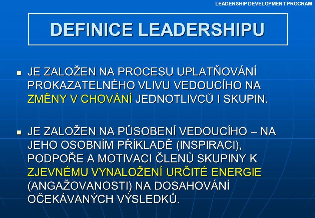 DEFINICE LEADERSHIPU JE ZALOŽEN NA PROCESU UPLATŇOVÁNÍ PROKAZATELNÉHO VLIVU VEDOUCÍHO NA ZMĚNY V CHOVÁNÍ JEDNOTLIVCŮ I SKUPIN.