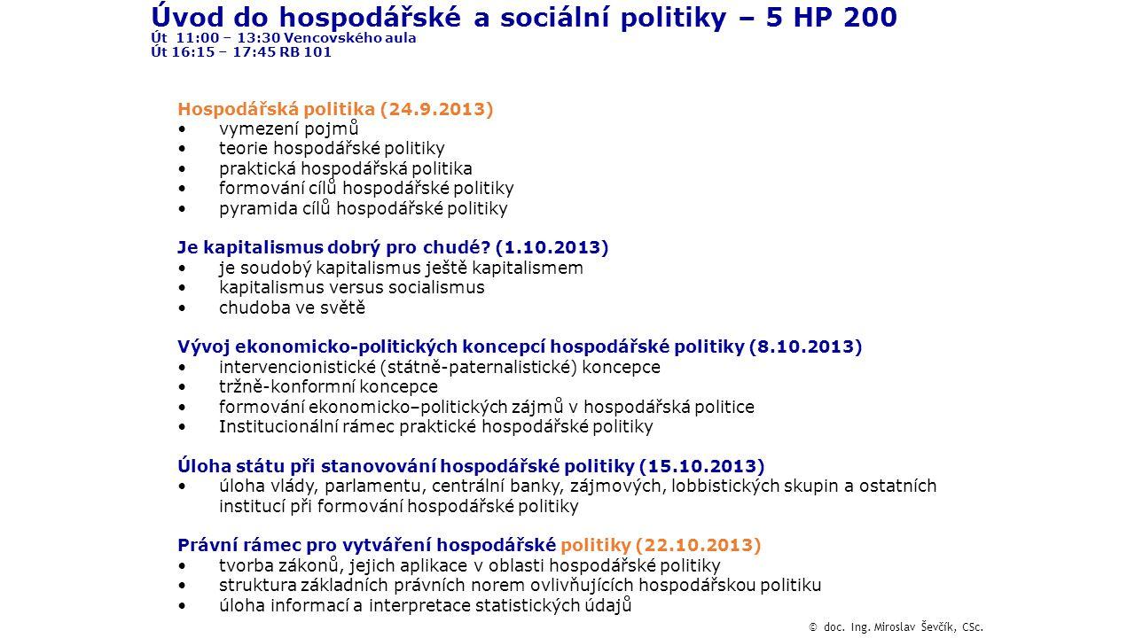 Úvod do hospodářské a sociální politiky – 5 HP 200 Út 11:00 – 13:30 Vencovského aula Út 16:15 – 17:45 RB 101