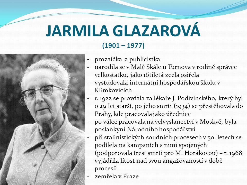 JARMILA GLAZAROVÁ (1901 – 1977) prozaička a publicistka