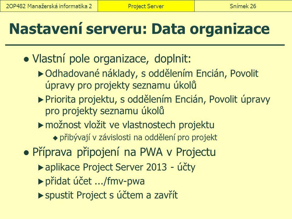 Nastavení serveru: Data organizace