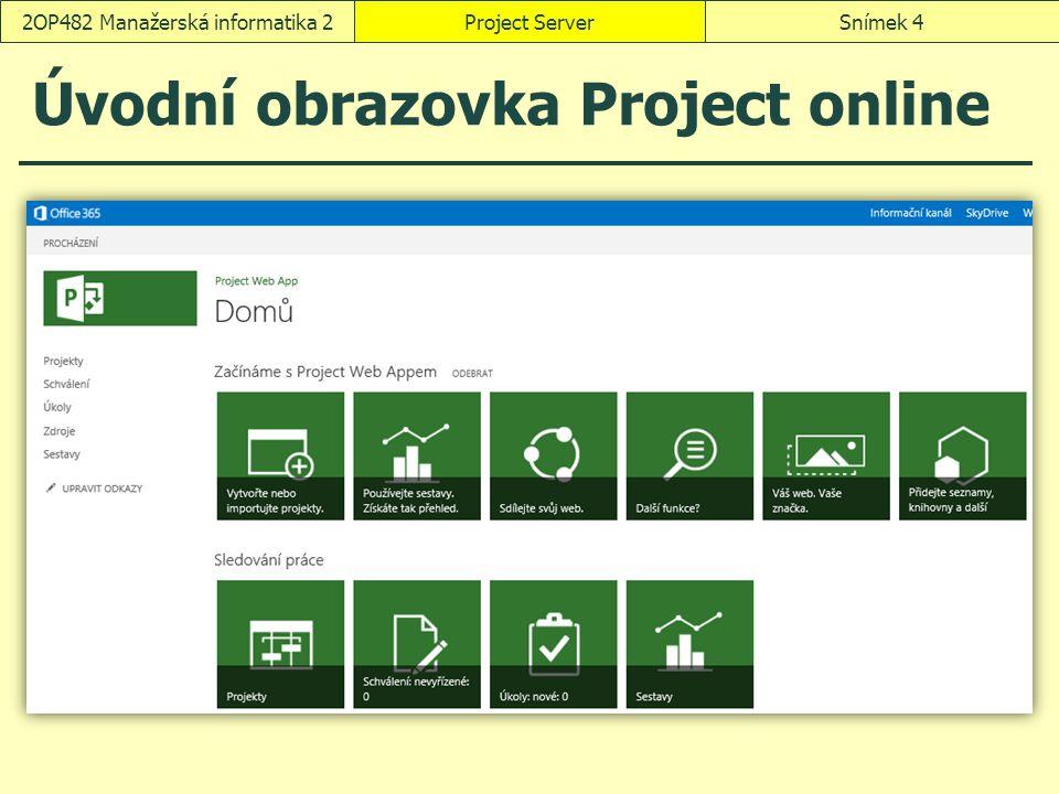 Úvodní obrazovka Project online