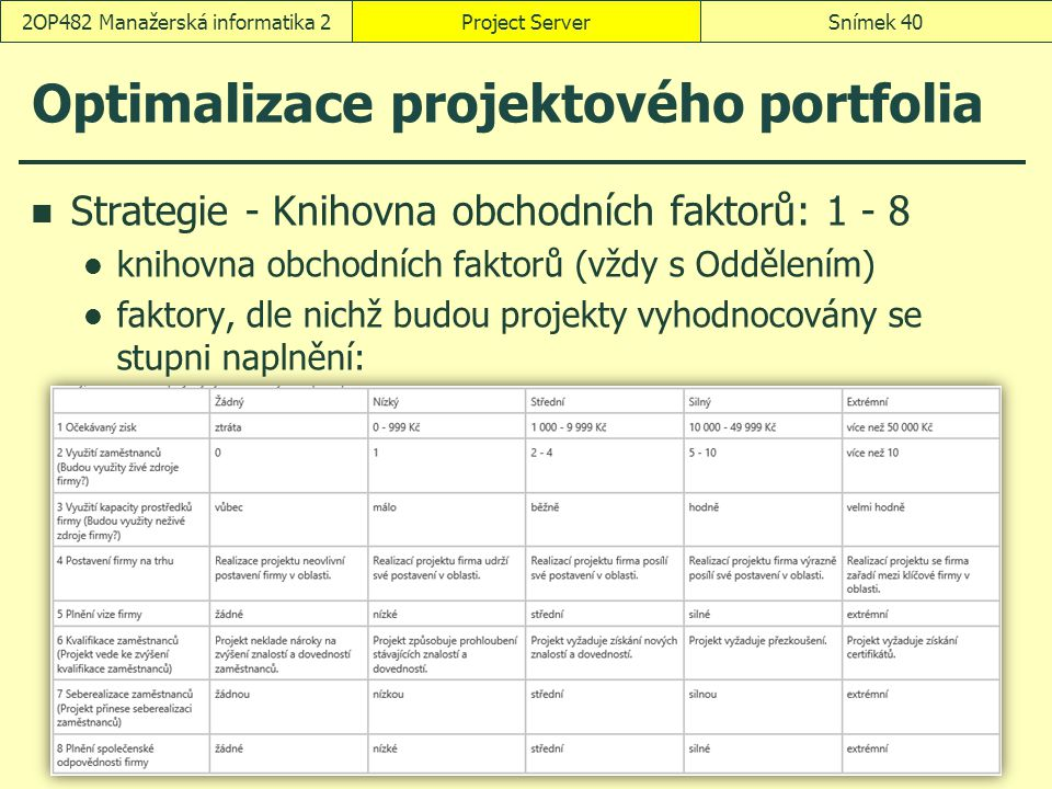 Optimalizace projektového portfolia