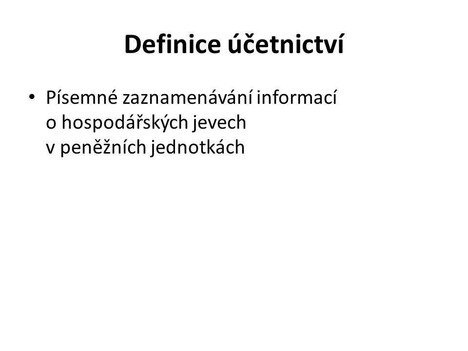 Definice účetnictví Písemné zaznamenávání informací o hospodářských jevech v peněžních jednotkách.