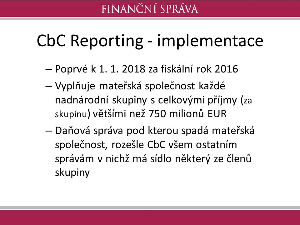 CbC Reporting - implementace
