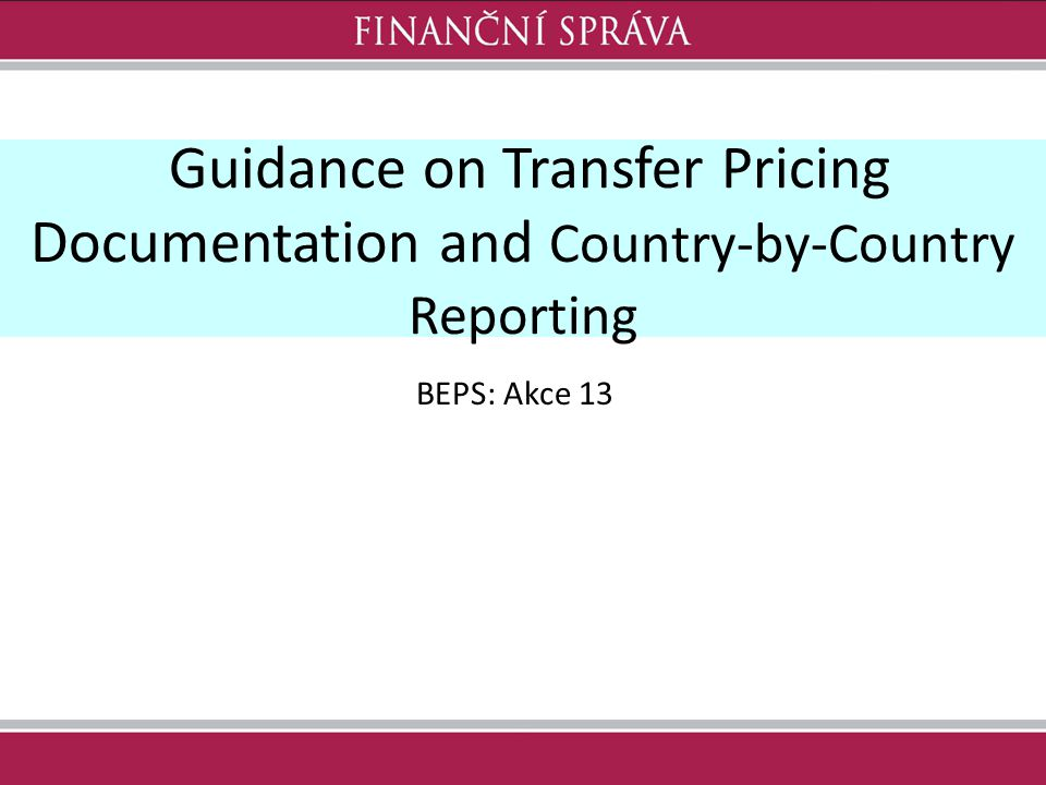 Guidance on Transfer Pricing Documentation and Country-by-Country Reporting
