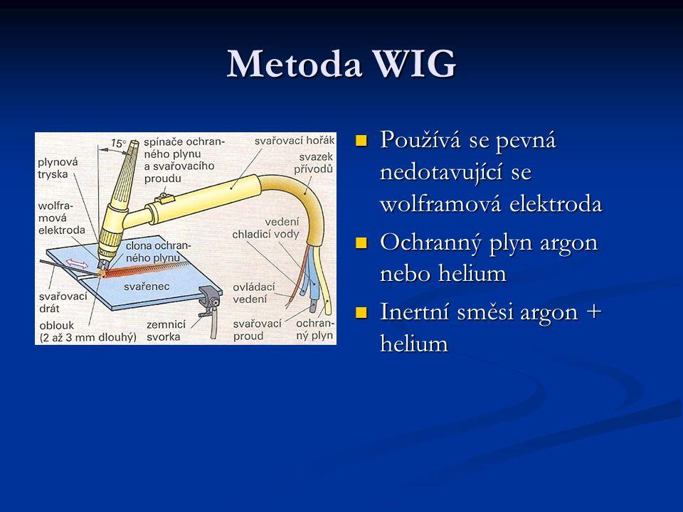 Metoda WIG Používá se pevná nedotavující se wolframová elektroda