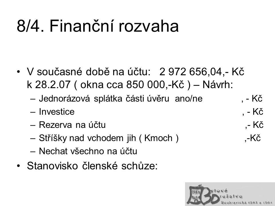 8/4. Finanční rozvaha V současné době na účtu: 2 972 656,04,- Kč k 28.2.07 ( okna cca 850 000,-Kč ) – Návrh: