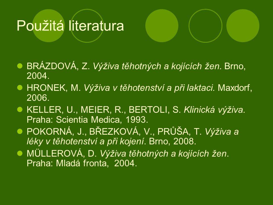 Použitá literatura BRÁZDOVÁ, Z. Výživa těhotných a kojících žen. Brno, 2004. HRONEK, M. Výživa v těhotenství a při laktaci. Maxdorf, 2006.
