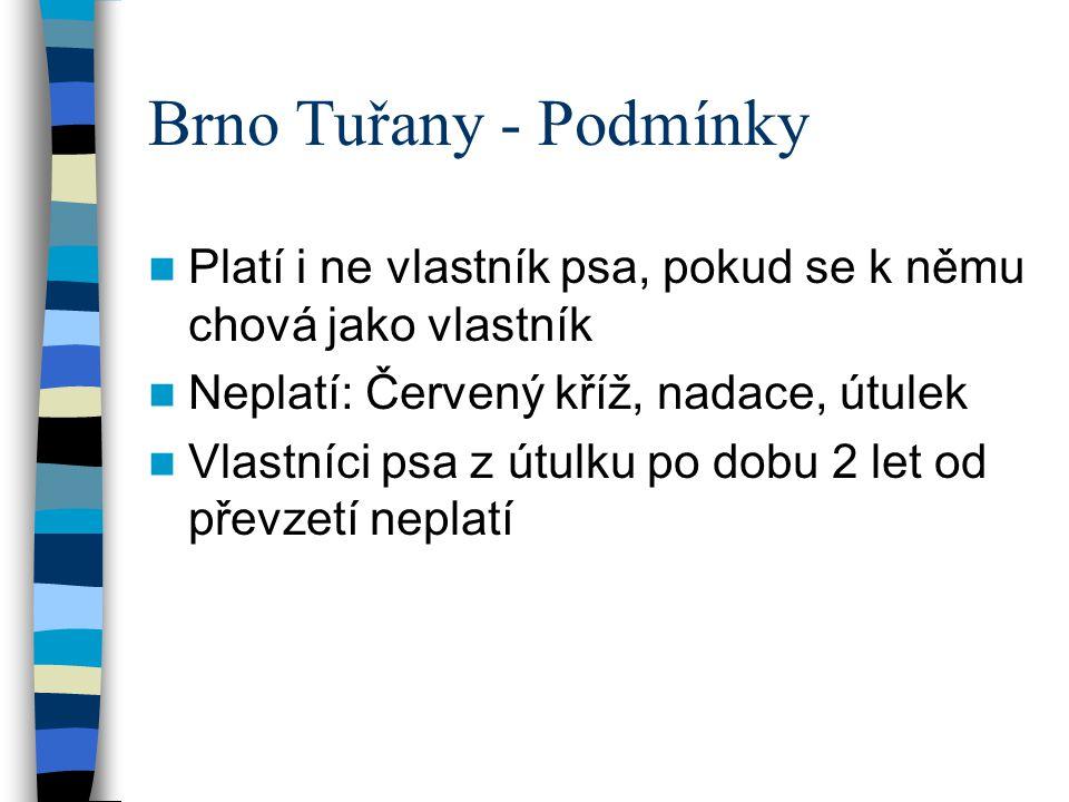 Brno Tuřany - Podmínky Platí i ne vlastník psa, pokud se k němu chová jako vlastník. Neplatí: Červený kříž, nadace, útulek.