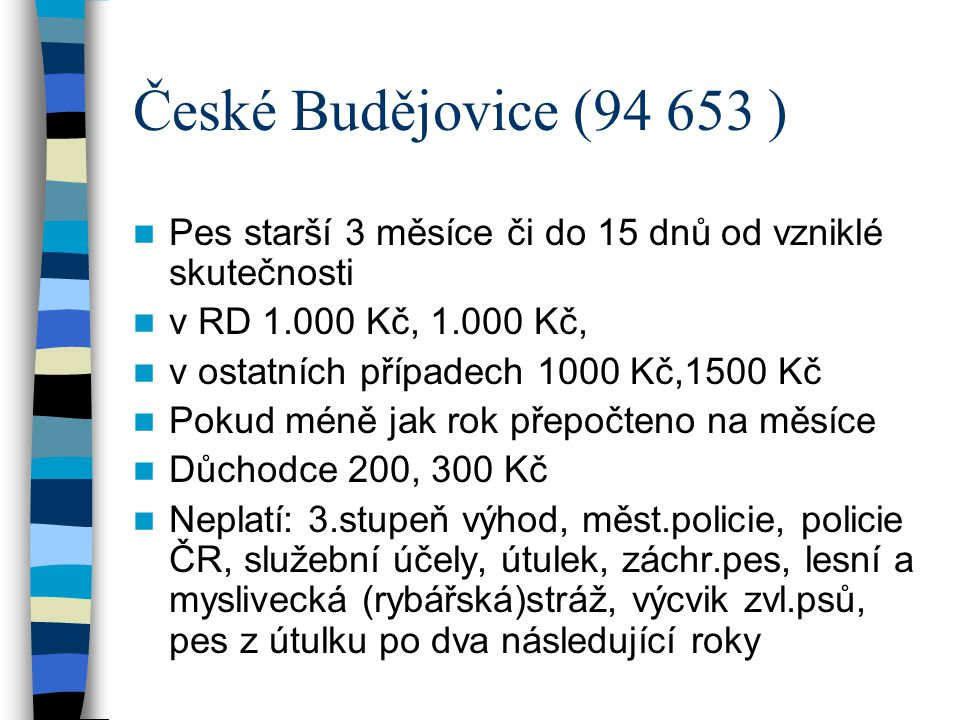 České Budějovice (94 653 ) Pes starší 3 měsíce či do 15 dnů od vzniklé skutečnosti. v RD 1.000 Kč, 1.000 Kč,