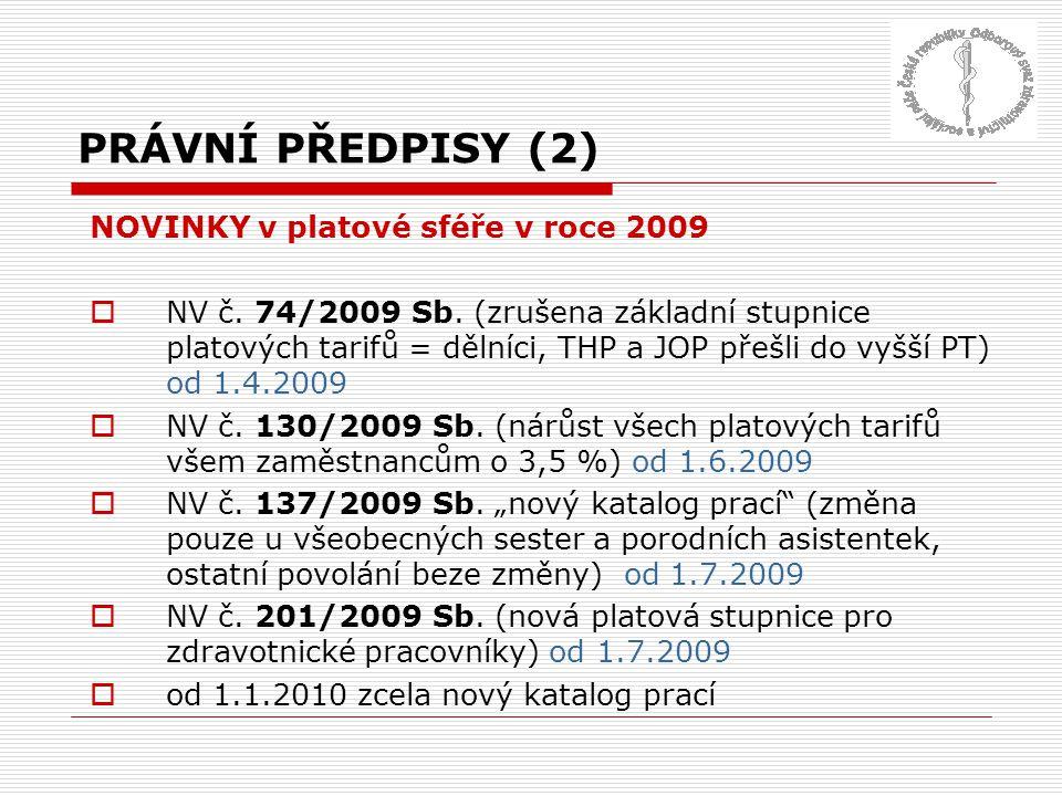 PRÁVNÍ PŘEDPISY (2) NOVINKY v platové sféře v roce 2009
