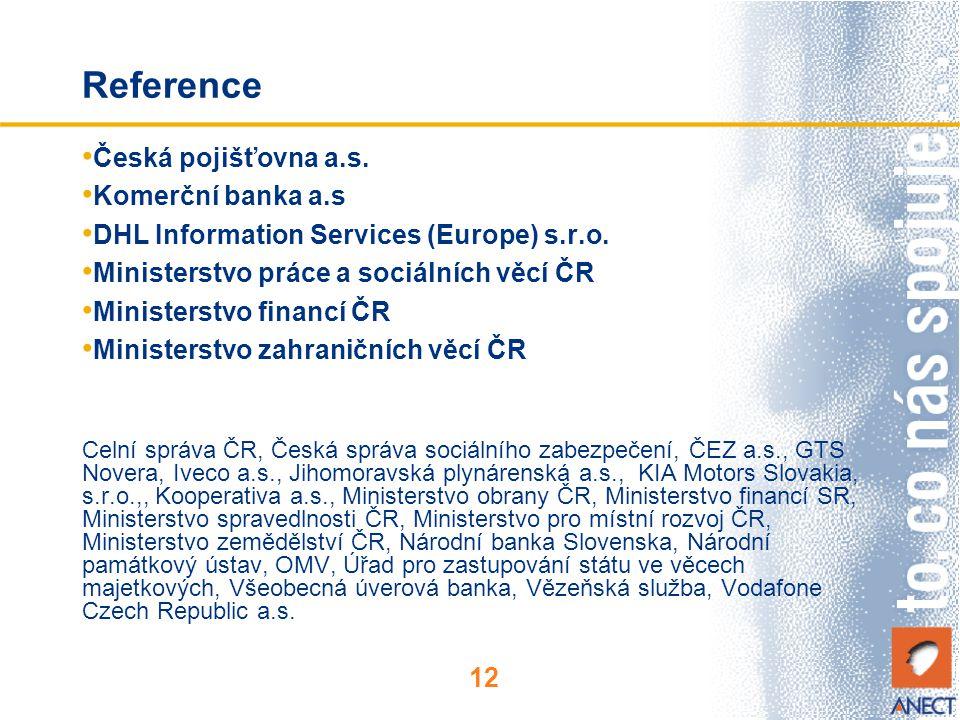 Reference Česká pojišťovna a.s. Komerční banka a.s
