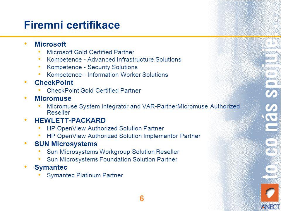 Firemní certifikace Microsoft CheckPoint Micromuse HEWLETT-PACKARD