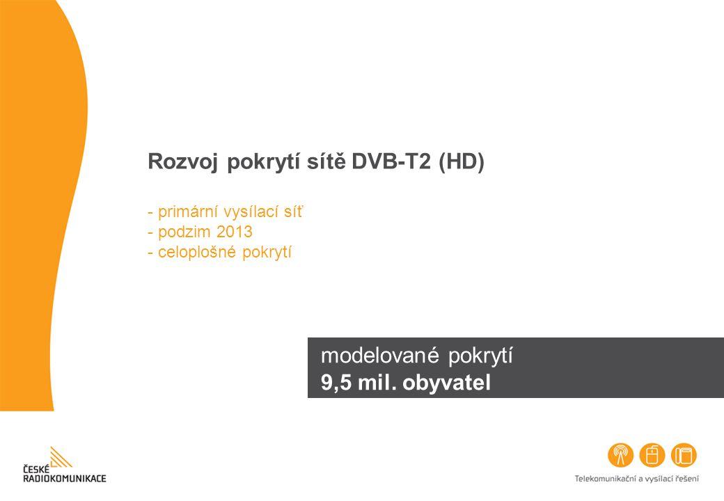 Rozvoj pokrytí sítě DVB-T2 (HD) - primární vysílací síť - podzim 2013 - celoplošné pokrytí