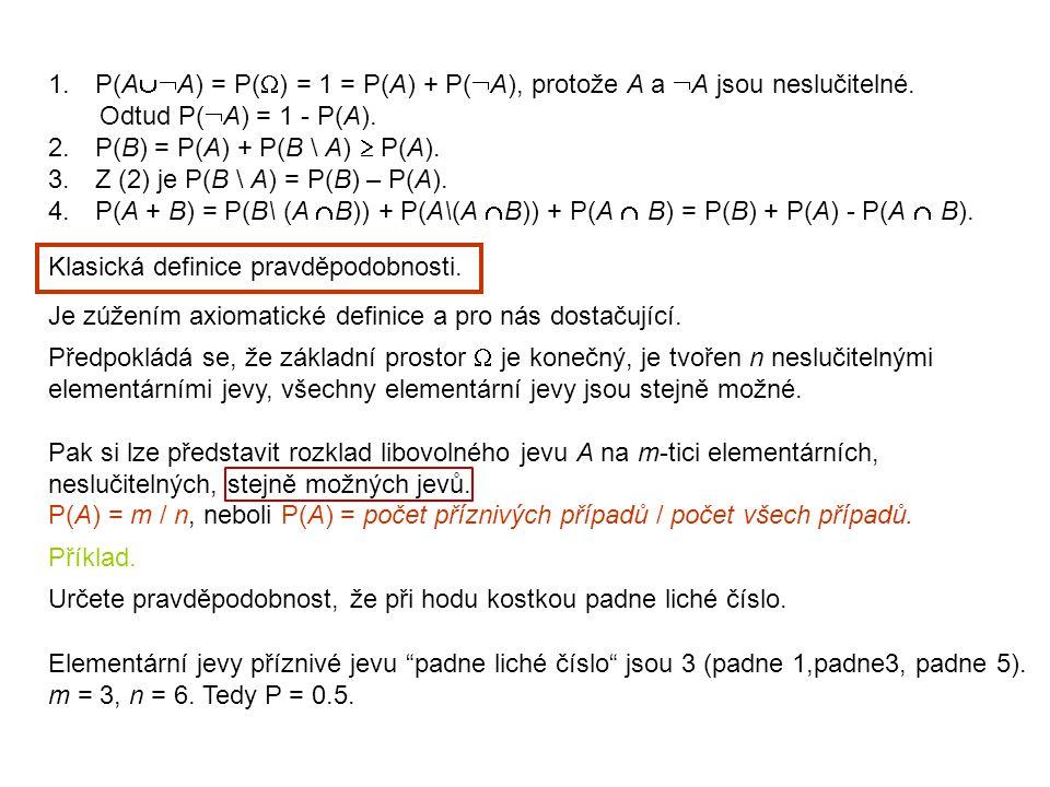 P(AA) = P() = 1 = P(A) + P(A), protože A a A jsou neslučitelné.