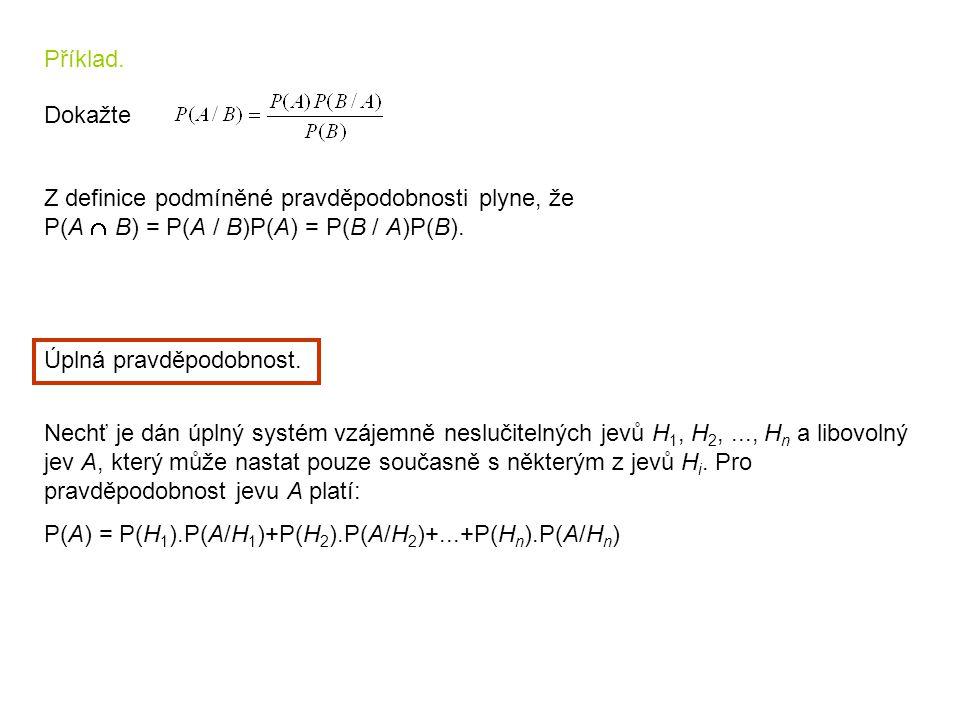 Příklad. Dokažte. Z definice podmíněné pravděpodobnosti plyne, že. P(A  B) = P(A / B)P(A) = P(B / A)P(B).