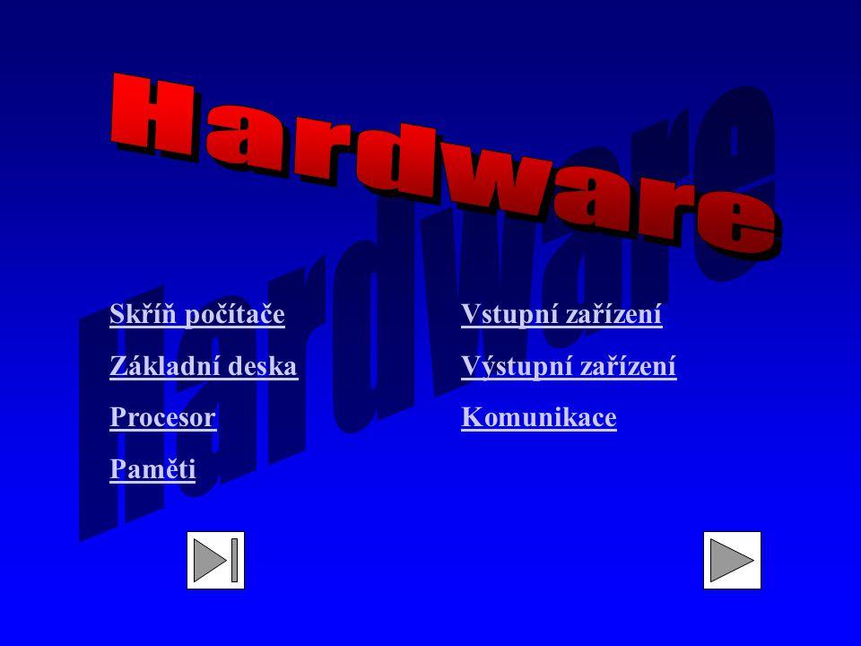 Hardware Skříň počítače Základní deska Procesor Paměti