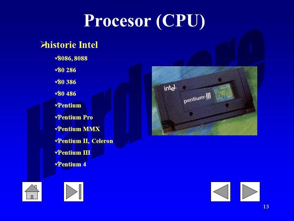 Procesor (CPU) historie Intel 8086, 8088 80 286 80 386 80 486 Pentium
