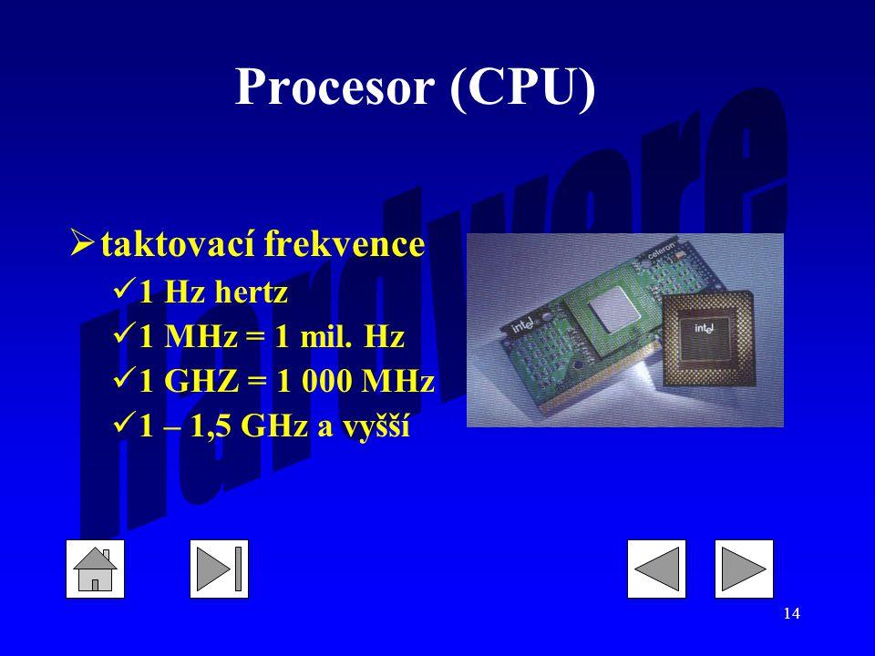 Procesor (CPU) taktovací frekvence 1 Hz hertz 1 MHz = 1 mil. Hz