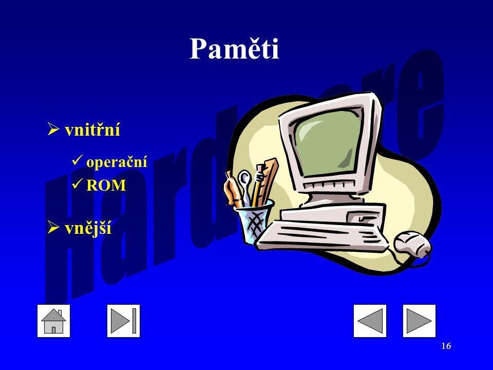 Paměti vnitřní operační ROM vnější