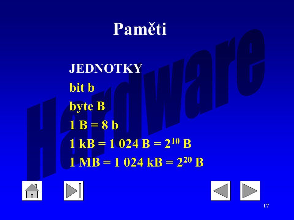 Paměti JEDNOTKY bit b byte B 1 B = 8 b 1 kB = 1 024 B = 210 B