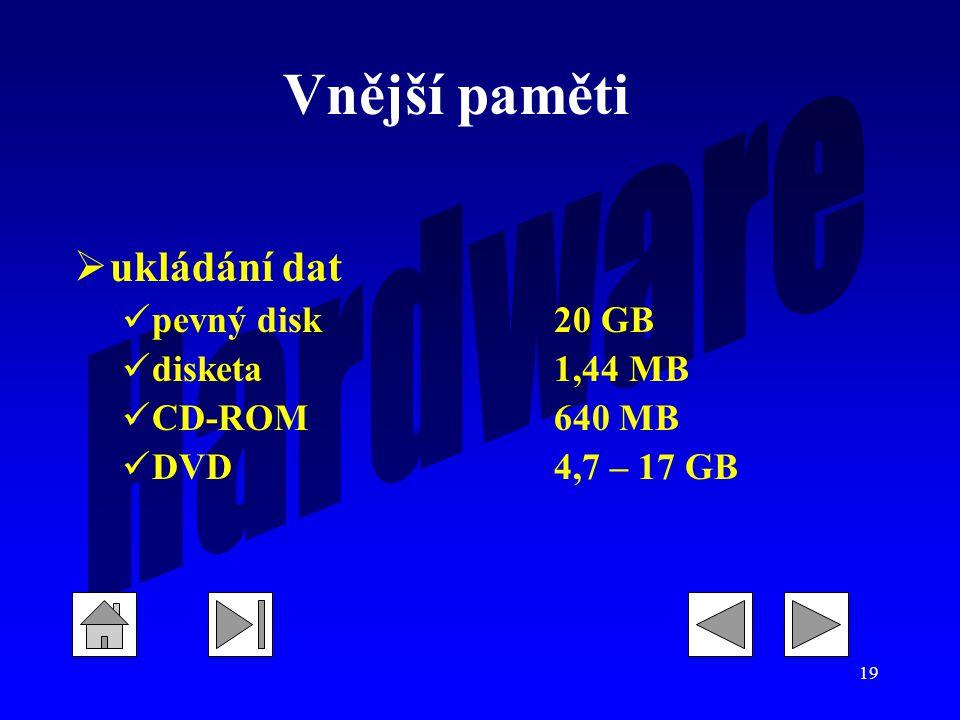 Vnější paměti ukládání dat pevný disk 20 GB disketa 1,44 MB