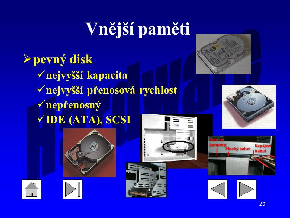 Vnější paměti pevný disk nejvyšší kapacita nejvyšší přenosová rychlost