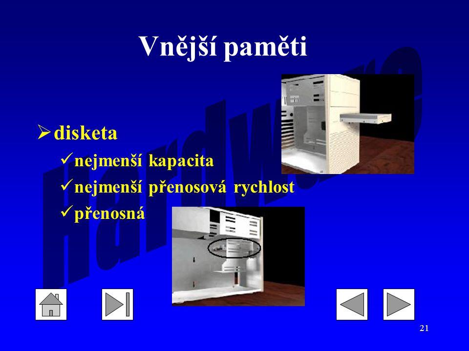 Vnější paměti disketa nejmenší kapacita nejmenší přenosová rychlost