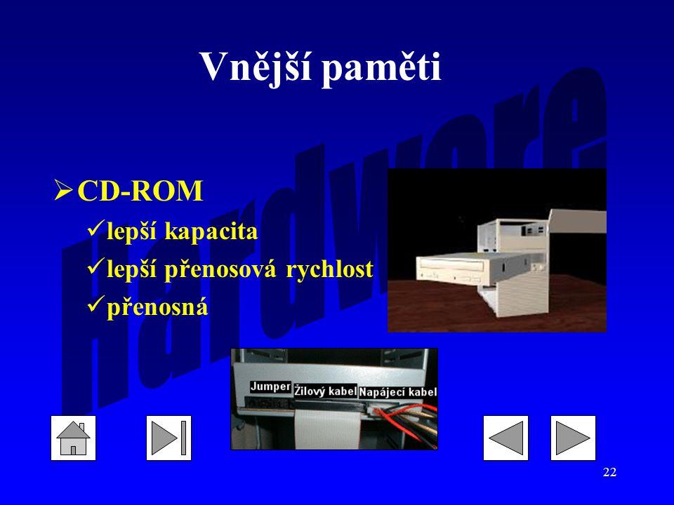 Vnější paměti CD-ROM lepší kapacita lepší přenosová rychlost přenosná