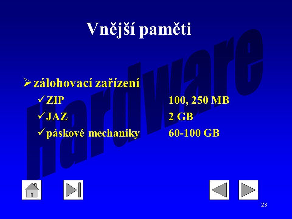 Vnější paměti zálohovací zařízení ZIP 100, 250 MB JAZ 2 GB