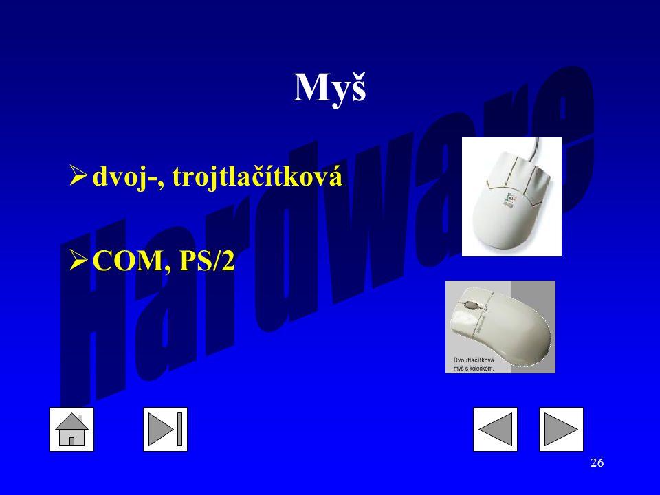Myš dvoj-, trojtlačítková COM, PS/2