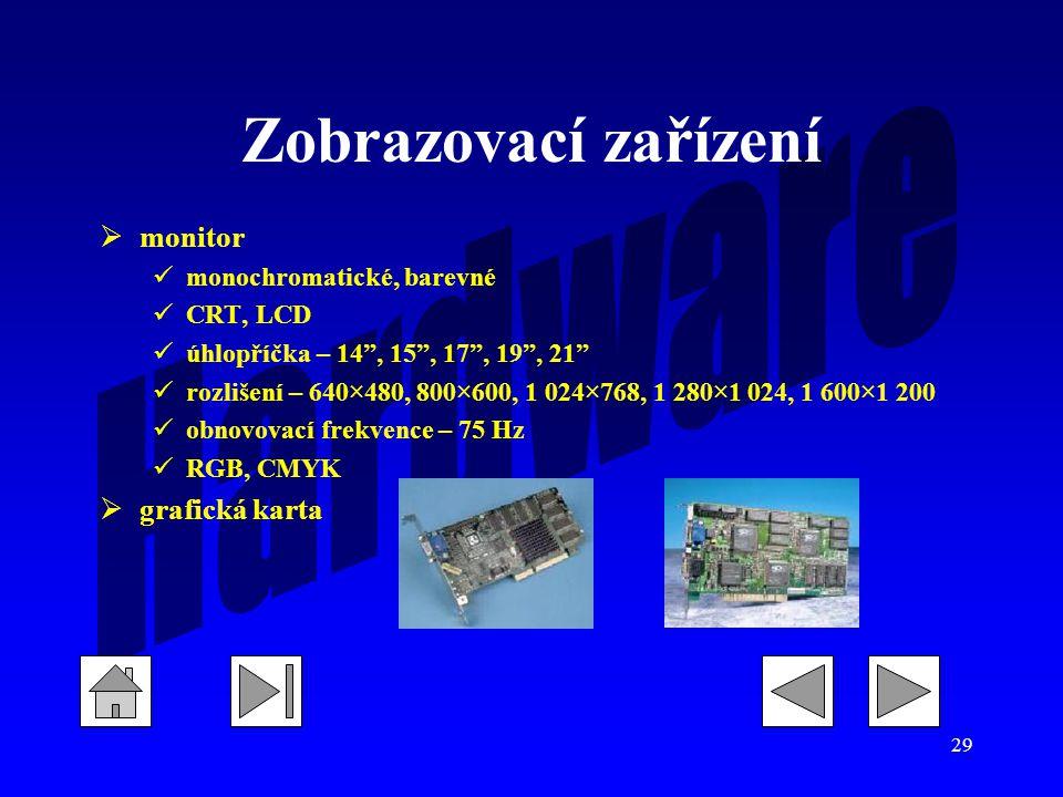 Zobrazovací zařízení monitor grafická karta monochromatické, barevné
