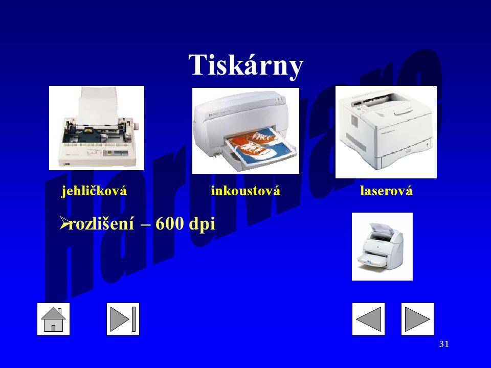 Tiskárny jehličková inkoustová laserová rozlišení – 600 dpi