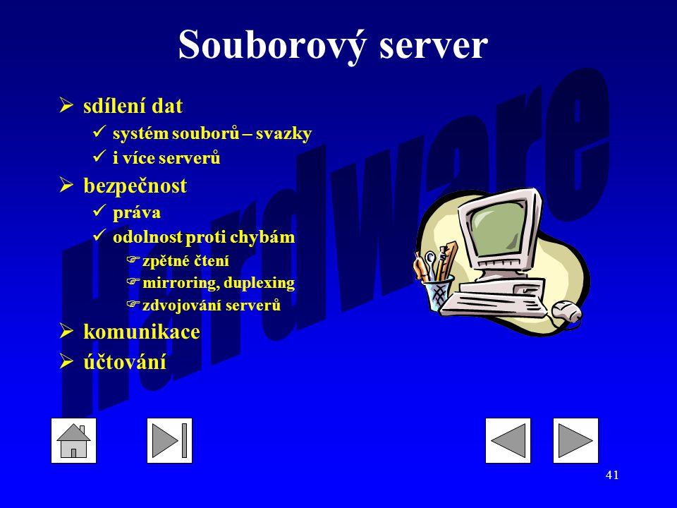 Souborový server sdílení dat bezpečnost komunikace účtování
