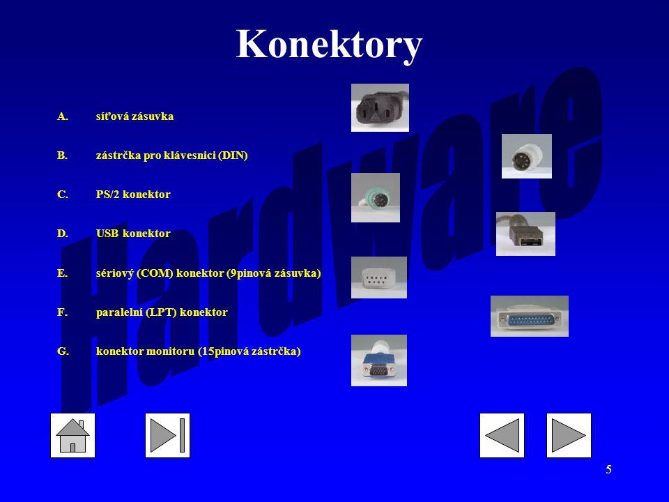 Konektory síťová zásuvka zástrčka pro klávesnici (DIN) PS/2 konektor