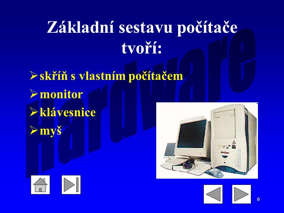 Základní sestavu počítače tvoří: