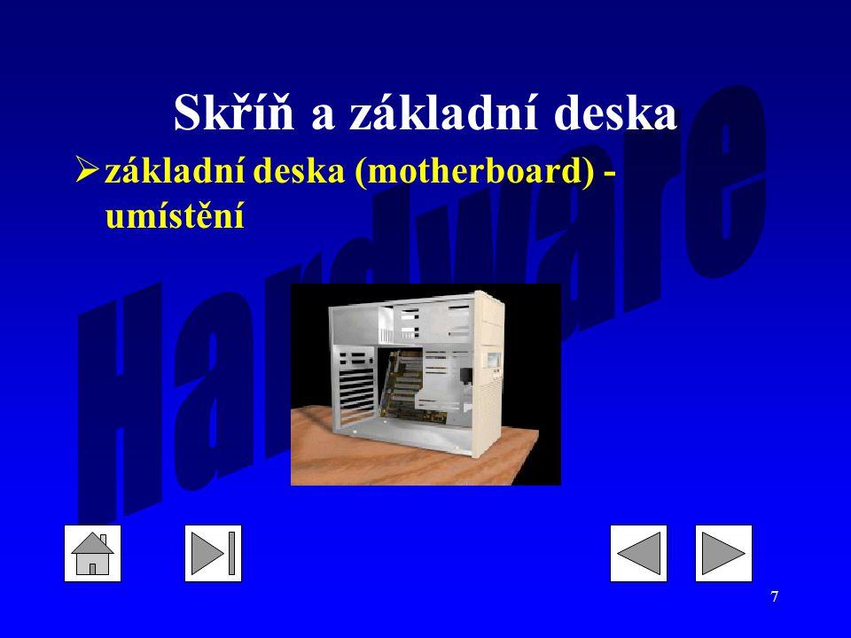 Skříň a základní deska základní deska (motherboard) - umístění