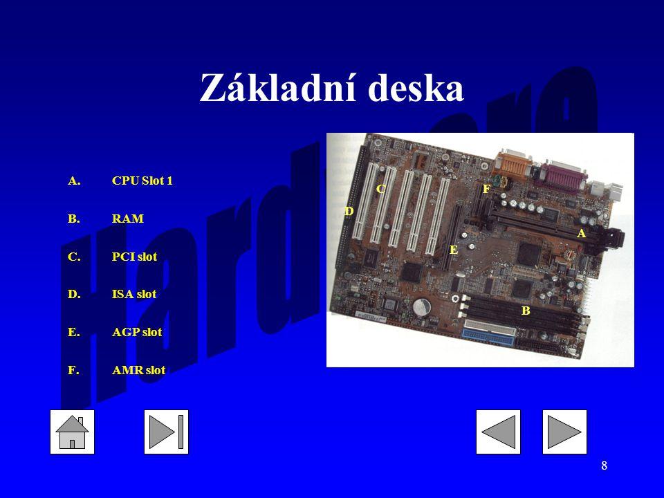 Základní deska C D A B E F CPU Slot 1 RAM PCI slot ISA slot AGP slot