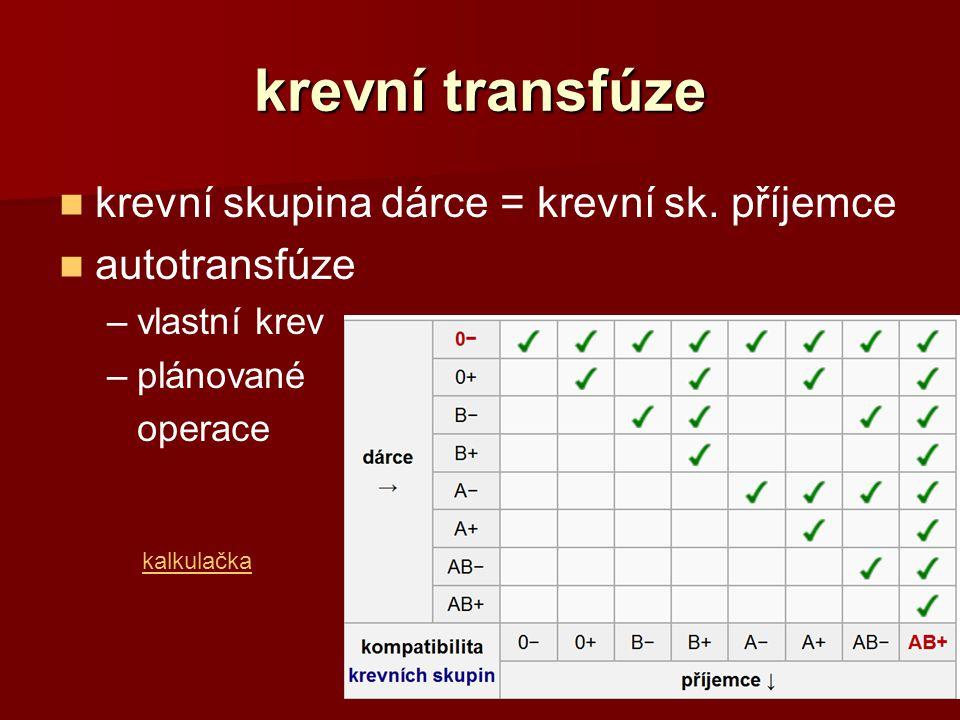 krevní transfúze krevní skupina dárce = krevní sk. příjemce