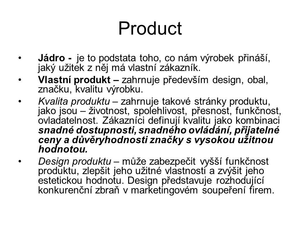Product Jádro - je to podstata toho, co nám výrobek přináší, jaký užitek z něj má vlastní zákazník.