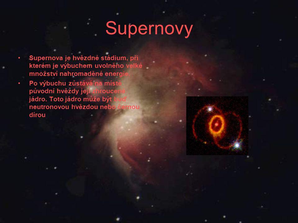Supernovy Supernova je hvězdné stádium, při kterém je výbuchem uvolněno velké množství nahromaděné energie.