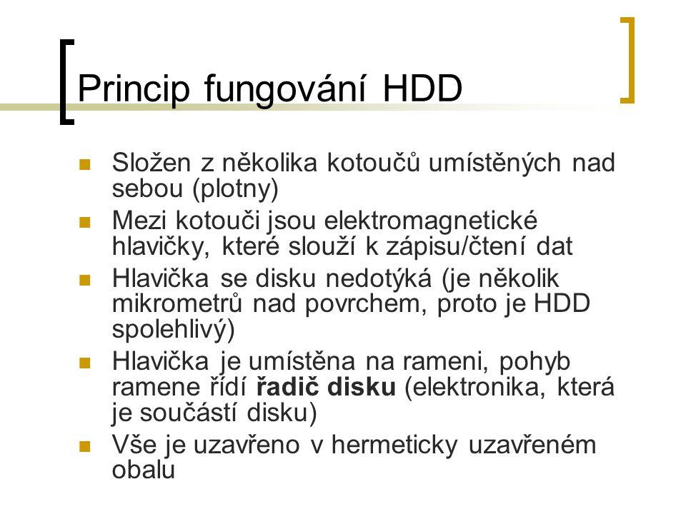 Princip fungování HDD Složen z několika kotoučů umístěných nad sebou (plotny)