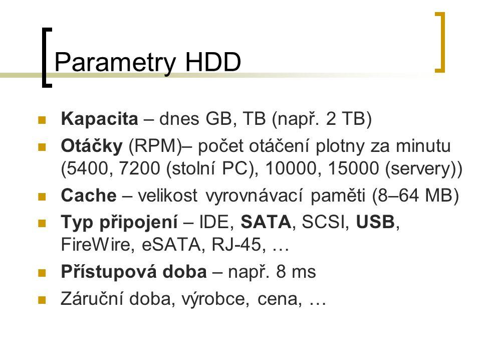 Parametry HDD Kapacita – dnes GB, TB (např. 2 TB)