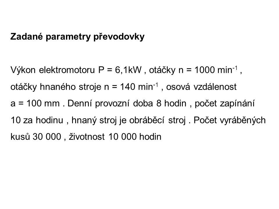 Zadané parametry převodovky