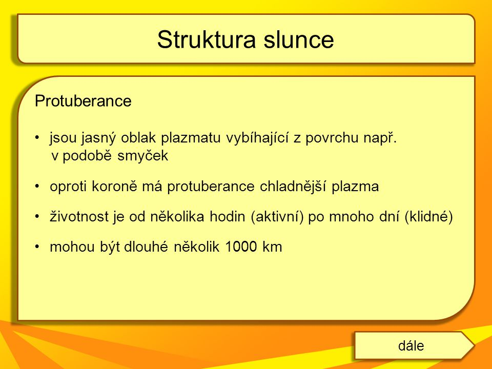 Struktura slunce Protuberance