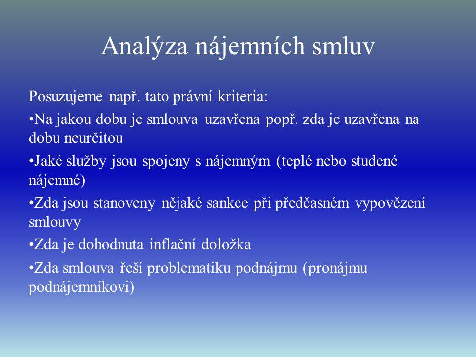 Analýza nájemních smluv